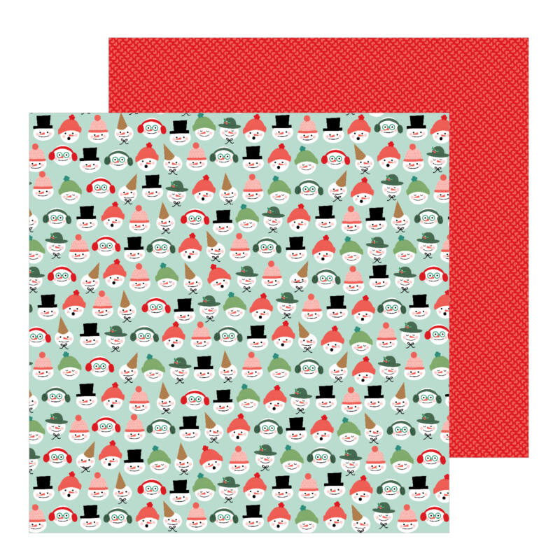 Pebbles - Merry Little Christmas 12x12 Patterned Paper - Snow Friends