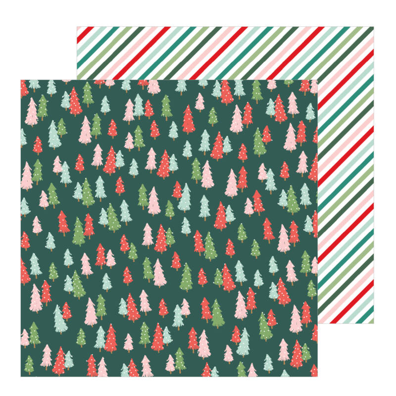 Pebbles - Merry Little Christmas 12x12 Patterned Paper - Oh Christmas Tree