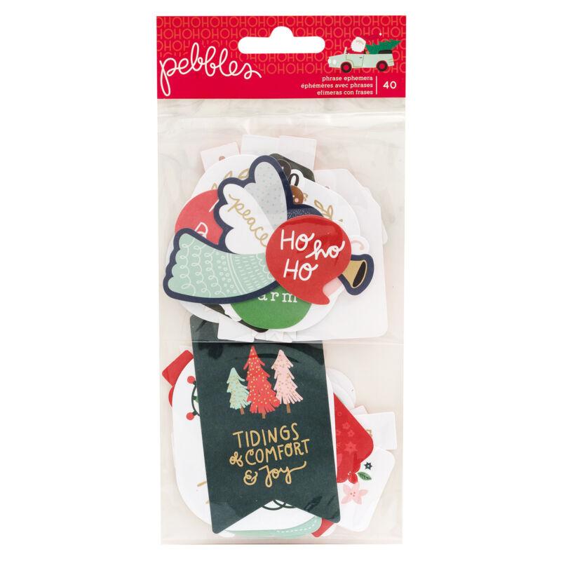 Pebbles - Merry Little Christmas Phrase Ephemera (40 Piece)