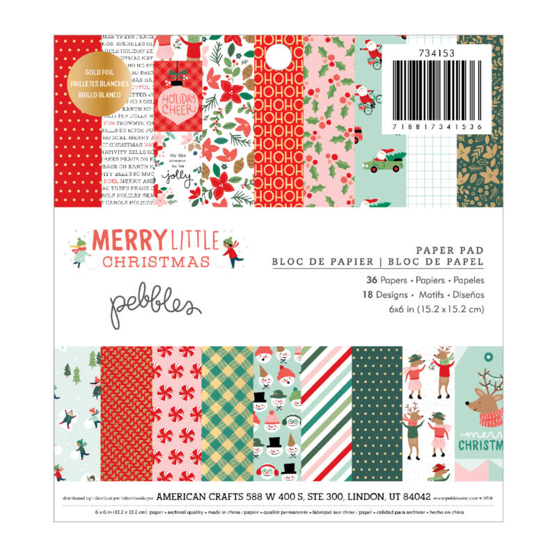 Pebbles - Merry Little Christmas 6x6 Paper Pad (36 Sheets)
