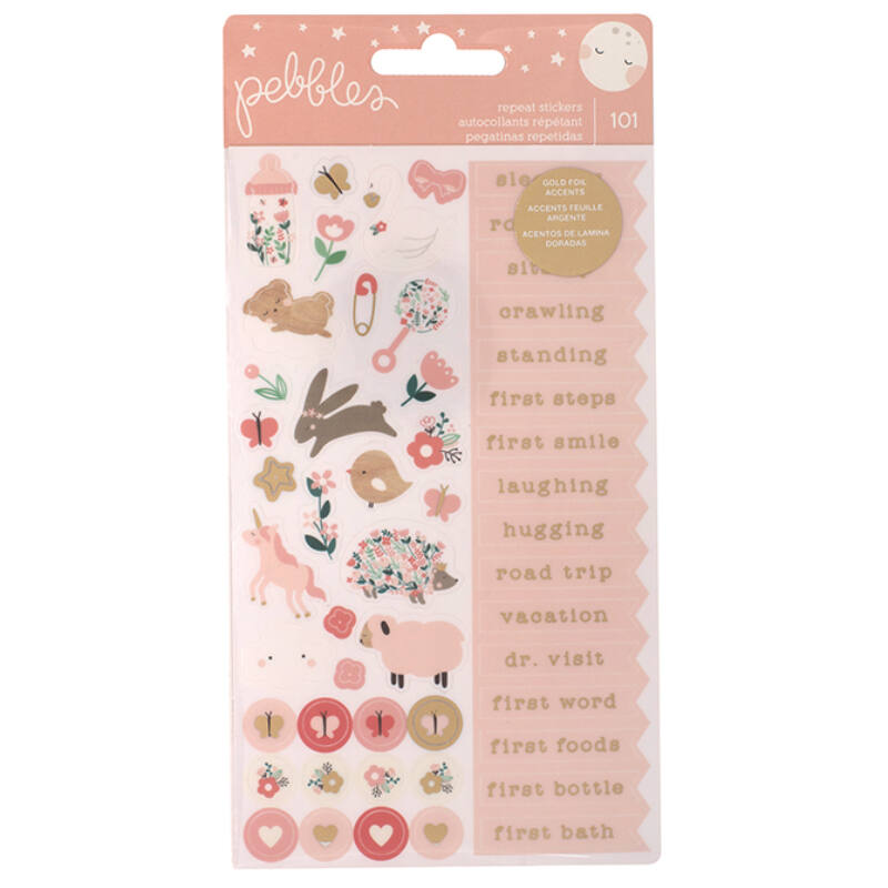 Pebbles - Nigh Night Repeat Stickers - Girl