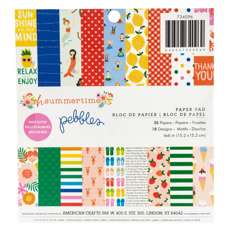 Pebbles - Oh Summertime 6x6 Paper Pad (36 Sheets)