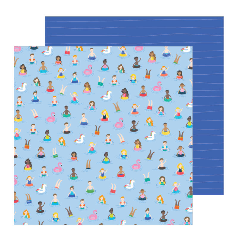Pebbles - Oh Summertime 12x12 scrapbook papír -  Taking A Dip