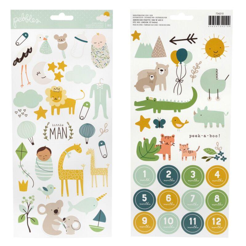 Pebbles - Peek-A-Boo You 6x12 Sticker Sheet - Boy