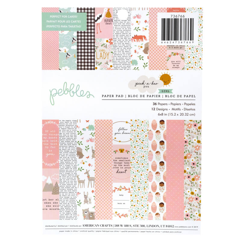 Pebbles - Peek-A-Boo You 6x8 Paper Pad - Girl (36 Sheets)