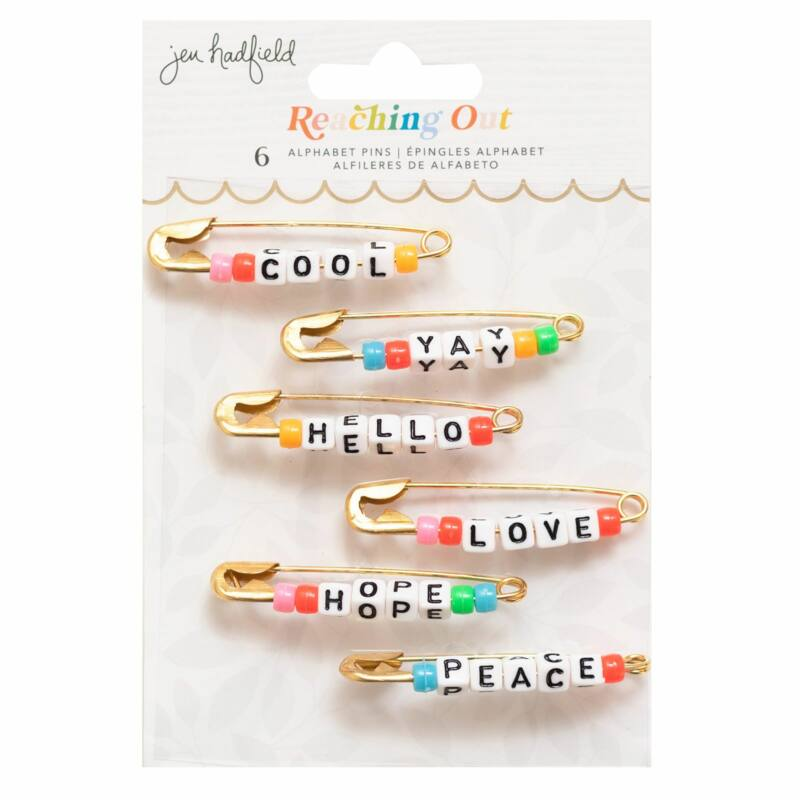 American Crafts - Jen Hadfield - Reaching Out Alphabet Phrase Pins (6 Piece)