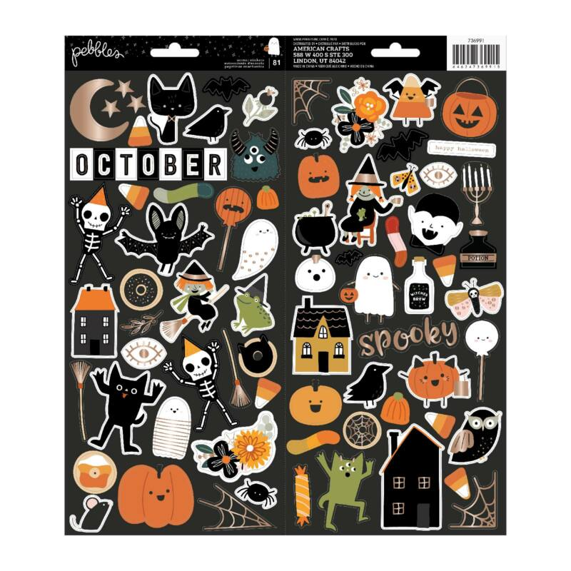 Pebbles - Spoooky 6x12 Sticker Sheet (81 Piece)
