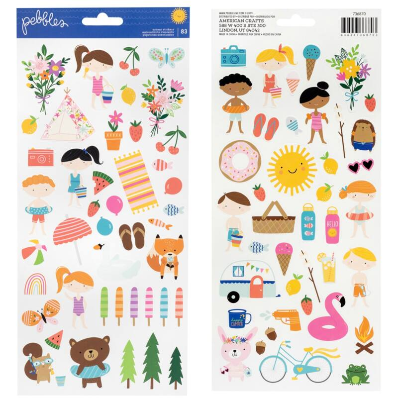 Pebbles - Sun and Fun 6x12 Sticker Sheet (83 Piece)