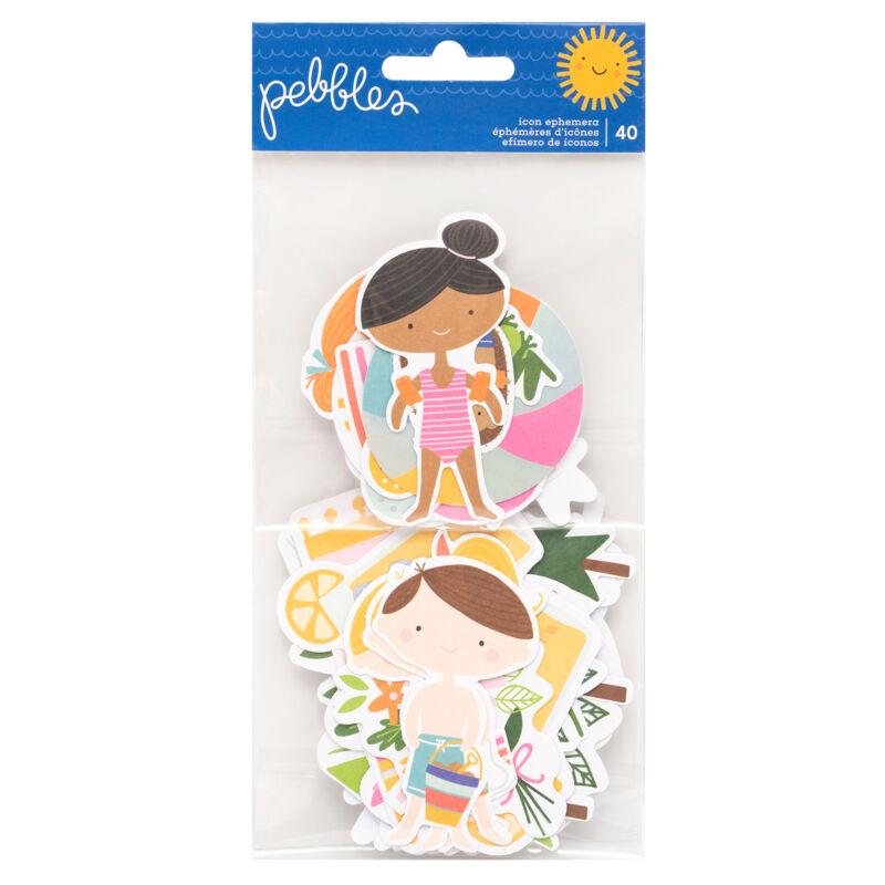 Pebbles - Sun and Fun Ephemera - Icons (40 Piece)