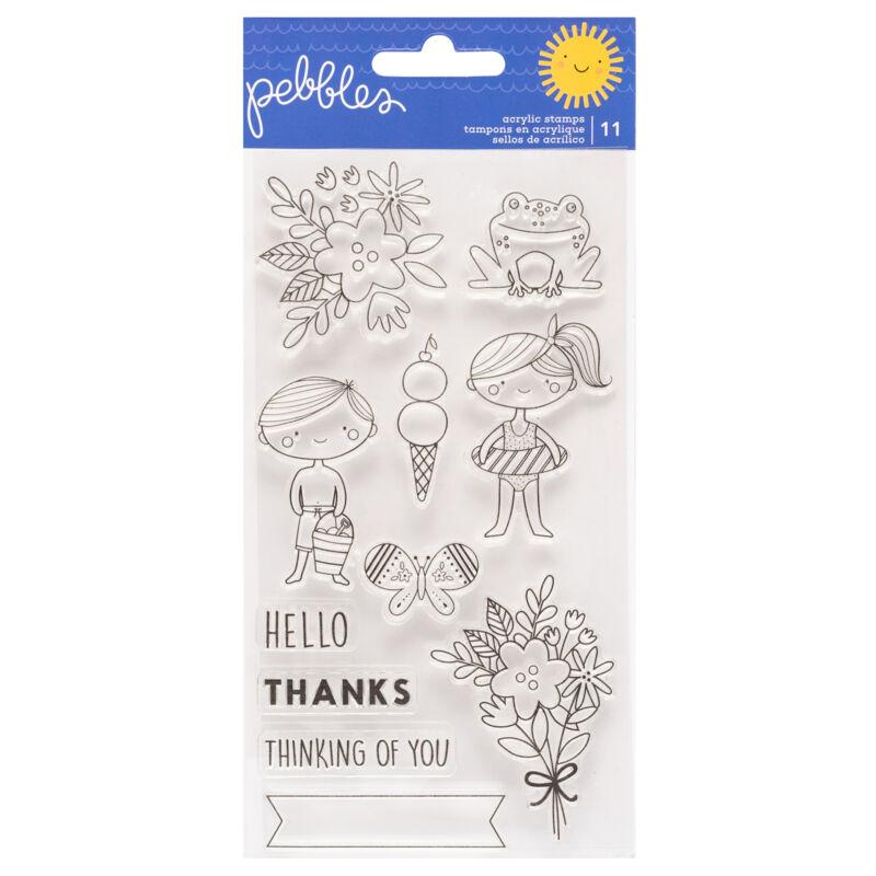 Pebbles - Sun and Fun Acrylic Stamp (11 Piece)