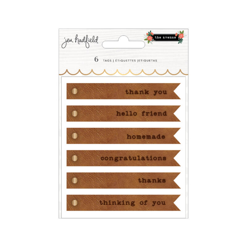 Pebbles - The Avenue Embossed Faux Leather Tags (6 Piece)