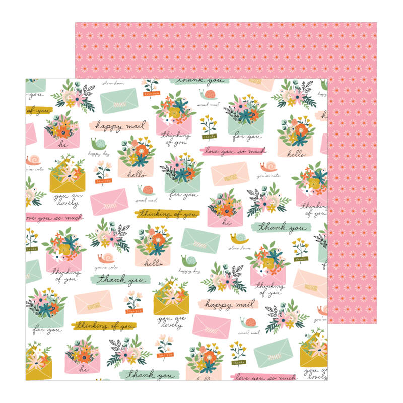 Pebbles - This is family 12x12 Patterned Paper - Snail Mail