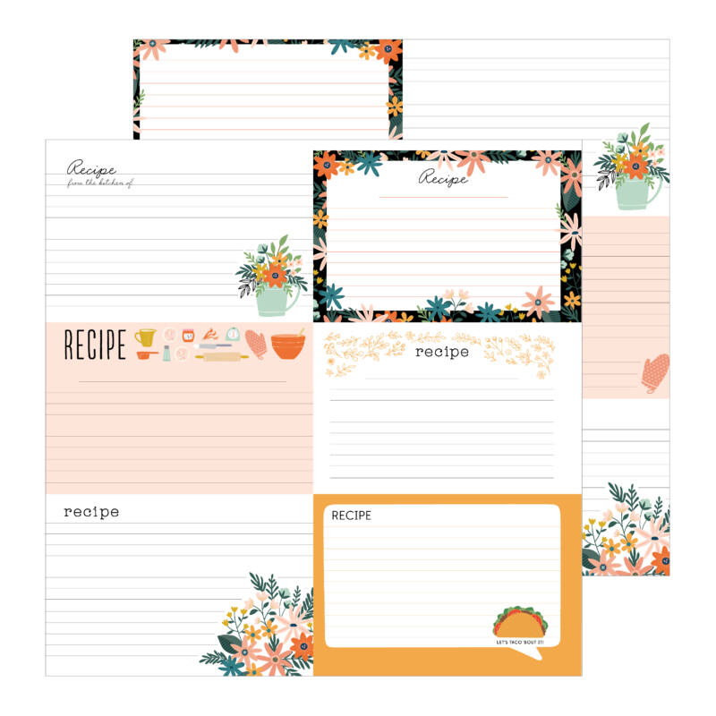 Pebbles - This is family 12x12 Patterned Paper - Family Recipes