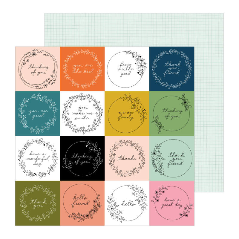 Pebbles - This is family 12x12 Patterned Paper - Tag You're it