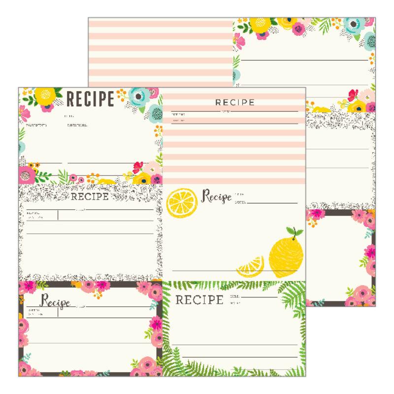 Pebbles - Patio Party 12x12 Paper - Recipe Cards