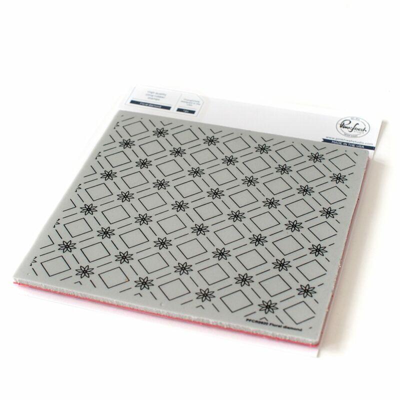 Pinkfresh Studio - Floral diamond 6x6 Cling Rubber Stamp