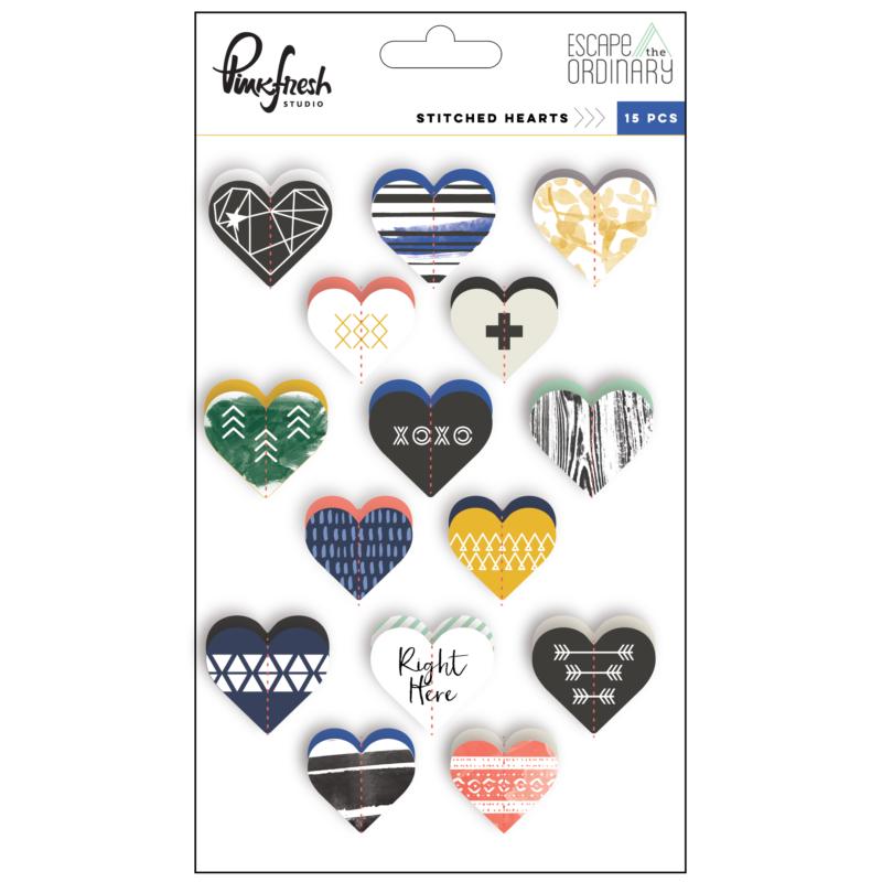 Pinkfresh Studio - Escape the Ordinary Stitched Hearts Stickers