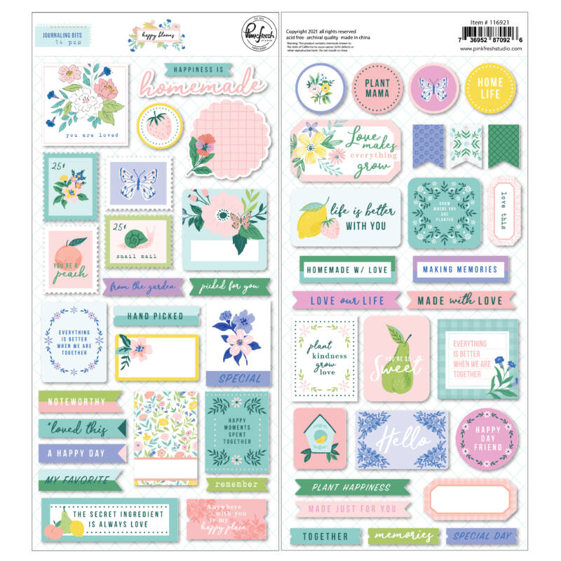 Pinkfresh Studio - Happy Blooms Cardstock stickers
