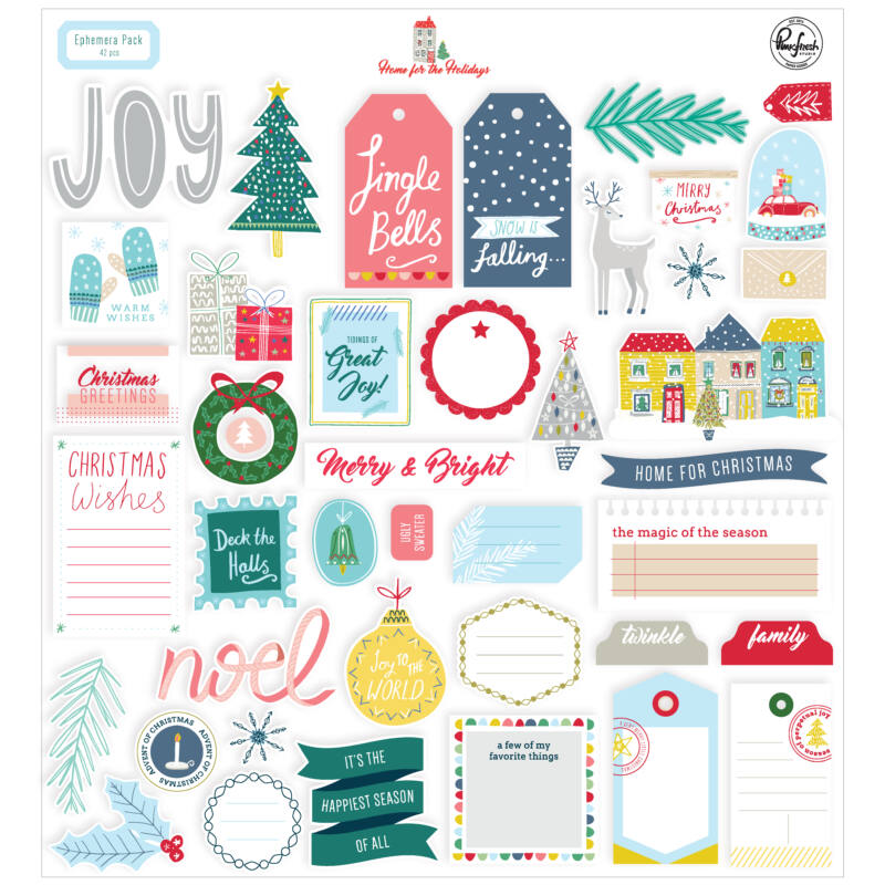 Pinkfresh Studio - Home for the Holidays Ephemera pack (42 Pieces)