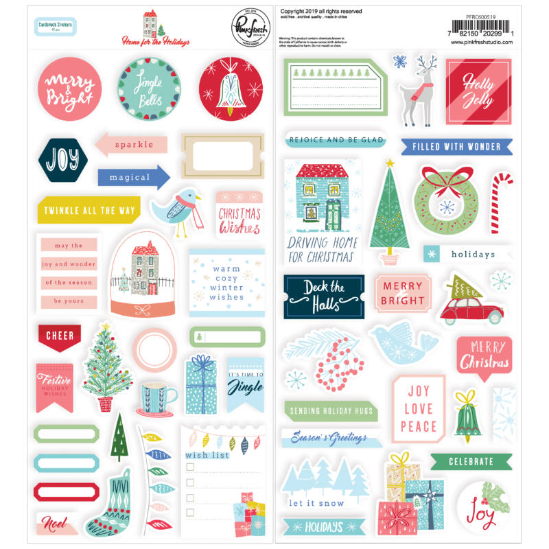 Pinkfresh Studio - Home for the Holidays 6x12 Cardstock Stickers (42 Pieces)