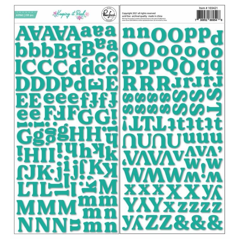 Pinkfresh Studio - Keeping it Real Puffy Alphabet Sticker-Teal