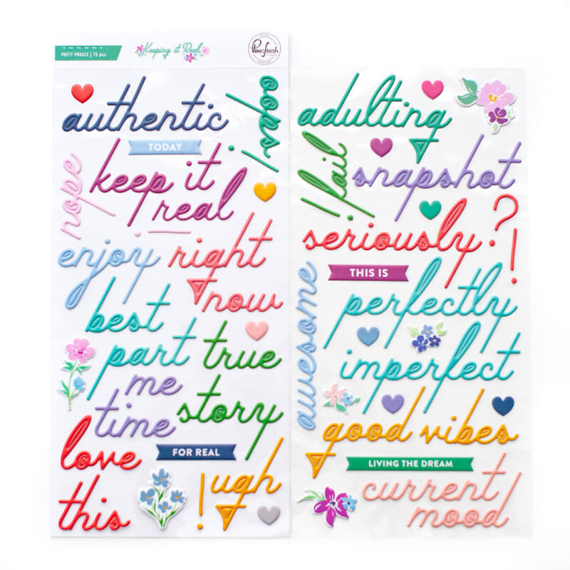 Pinkfresh Studio - Keeping it Real Puffy Phrase Stickers