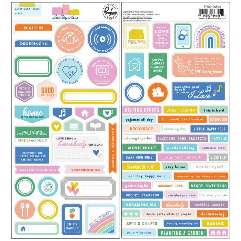Pinkfresh Studio - Let's Stay Home 6x12 Cardstock Stickers
