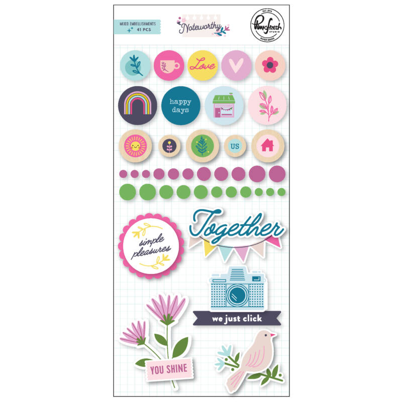 Pinkfresh Studio - Noteworthy Mixed Embellishment Pack
