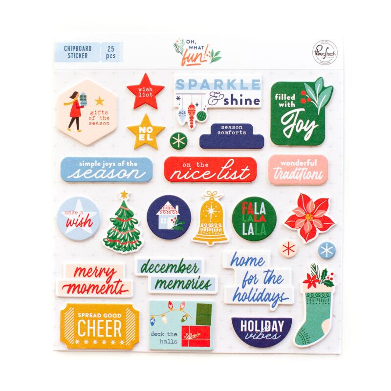 Pinkfresh Studio - Oh What Fun Chipboard Stickers