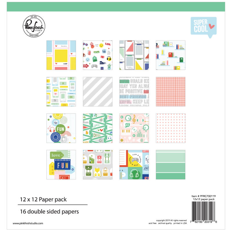 Pinkfresh Studio - Super Cool 12x12 Paper Kit