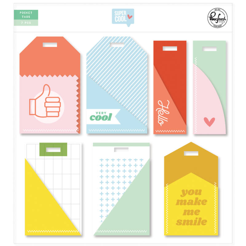 Pinkfresh Studio - Super Cool Stitched Pocket Tags