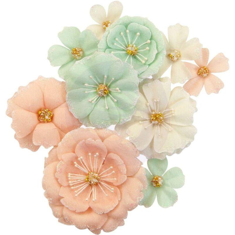 Prima Marketing - Apricot Honey Paper Flowers - Blush & Mint