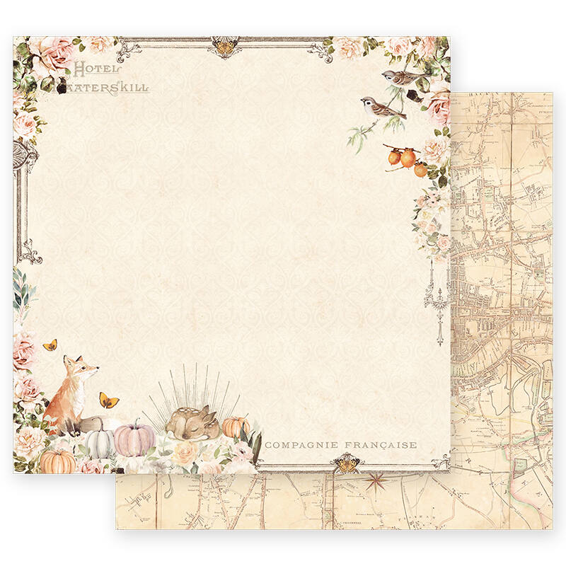 Prima Marketing - Autumn Sunset 12x12 scrapbook papír - Falling Leaves