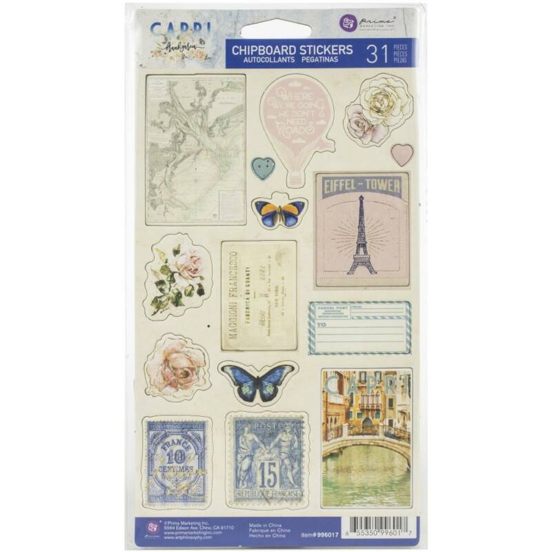 Prima Marketing - Capri Chipboard Stickers (31 Pieces)