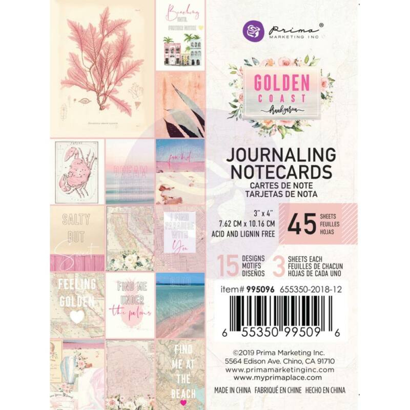 Prima Marketing - Golden Coast 3x4 Journaling Card (45 Pieces)