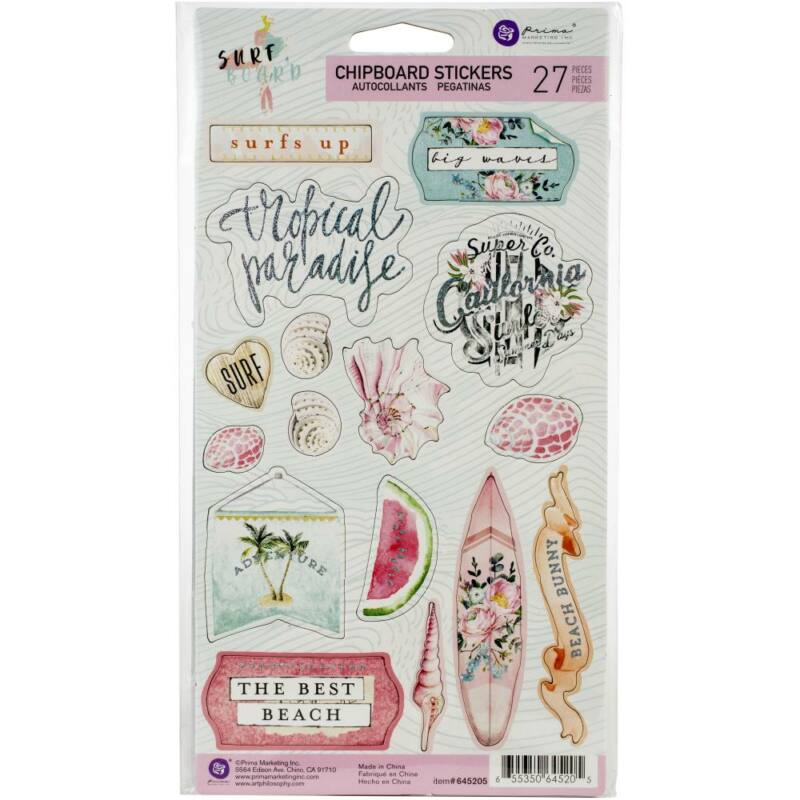 BEACH Embossed Glitter Scrapbook Stickers