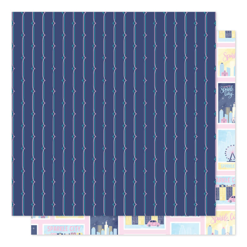 American Crafts - Shimelle - Sparkle City 12x12 scrapbook papír - Postcards Home