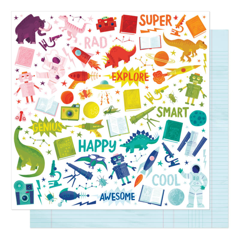 American Crafts - Shimelle - Field Trip 12x12 Patterned Paper - Between Classes
