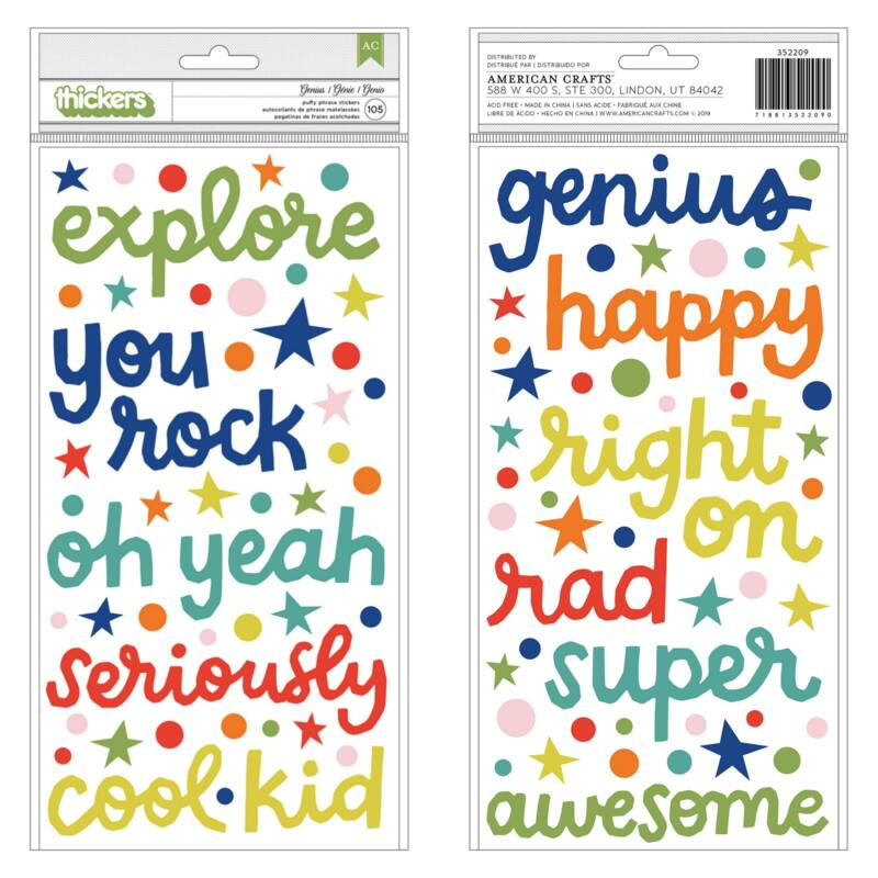 American Crafts - Shimelle - Field Trip Puffy Phrase Thickers - Genius (105 Piece)