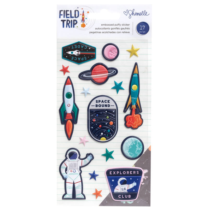 American Crafts - Shimelle - Field Trip Embossed Puffy Stickers (17 Piece)