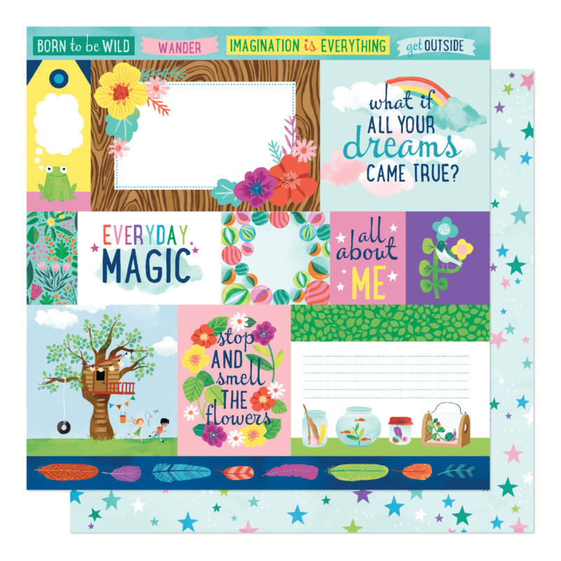 American Crafts- Shimelle - Never Grow Up 12x12 Paper - Dreams Come True