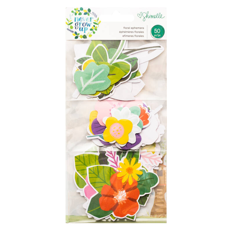 American Crafts- Shimelle - Never Grow Up Floral Ephemera (50 Piece)