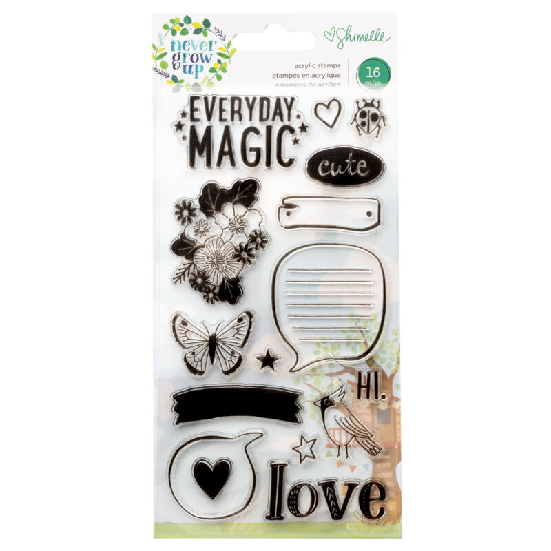 American Crafts- Shimelle - Never Grow Up Acrylic Stamps (16 Piece)