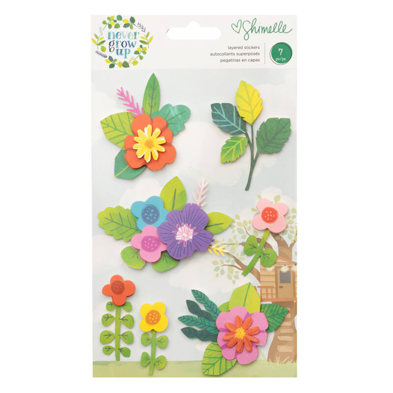 American Crafts- Shimelle - Never Grow Up Floral Layered Stickers  (7 Piece)