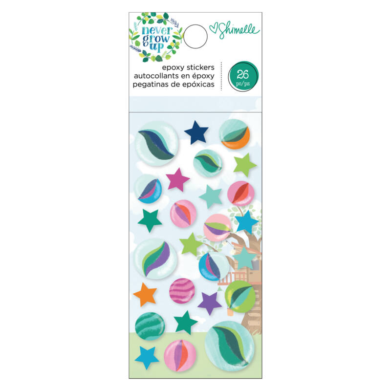 American Crafts- Shimelle - Never Grow Up Epoxy Stickers (26 Piece)
