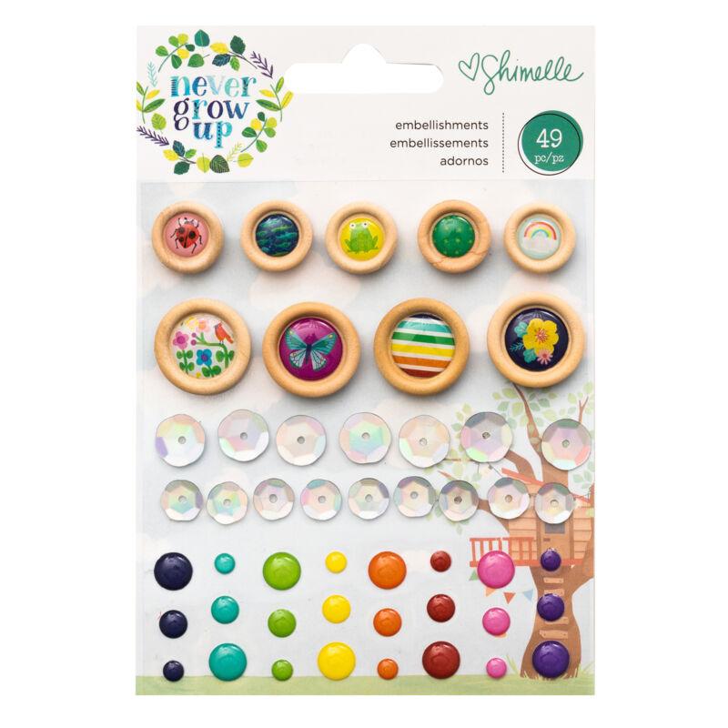 American Crafts- Shimelle - Never Grow Up mini dekor mix (49 db)