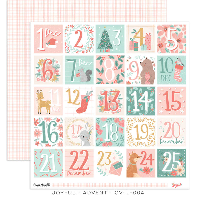 Cocoa Vanilla Studio - Joyful 12x12 Paper - Advent