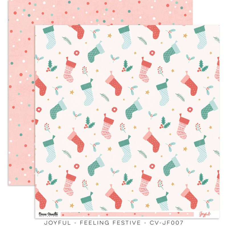 Cocoa Vanilla Studio - Joyful 12x12 Paper - Feeling Festive