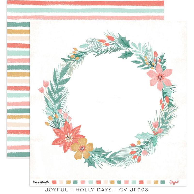 Cocoa Vanilla Studio - Joyful 12x12 Paper - Holly Days