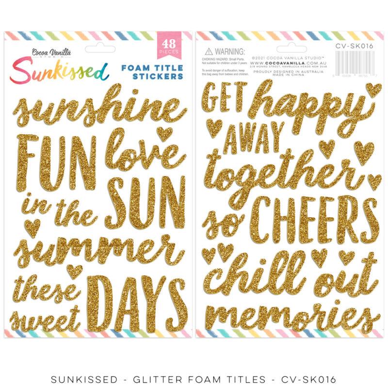 Cocoa Vanilla Studio - Sunkissed Glitter Foam Title Stickers